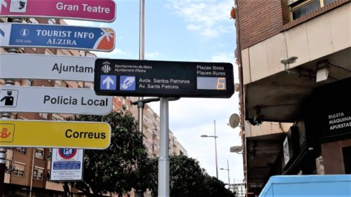 Panel de señalización de plazas disponibles